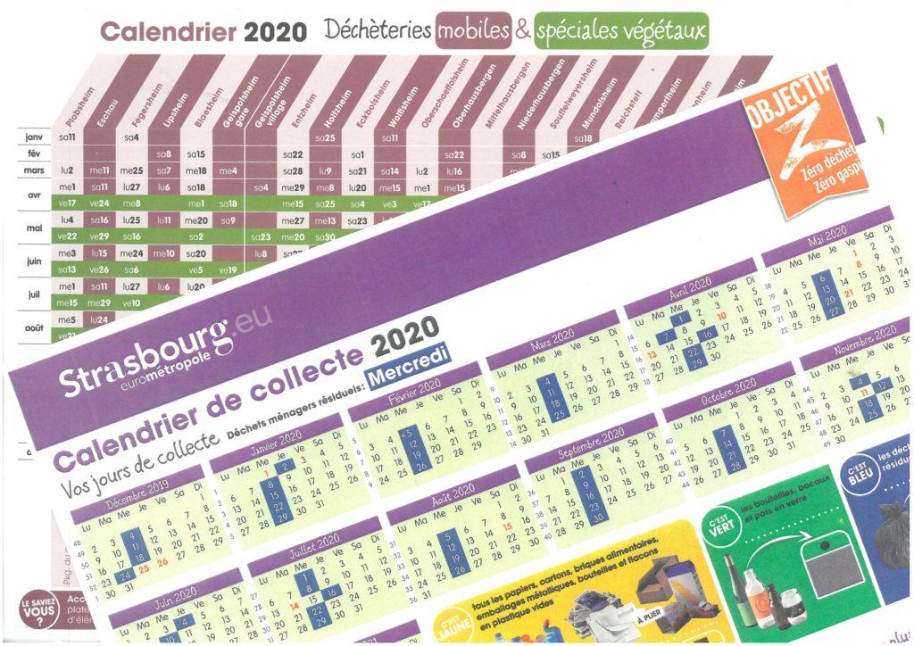 Calendrier collecte 2020